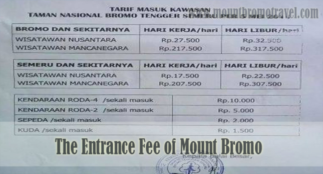 The Entrance Fee of Mount Bromo